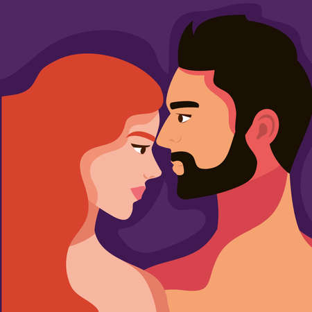 lovers couple in profile shirtless characters