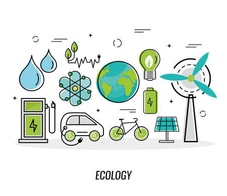 eleven green energy icons Ilustracje wektorowe