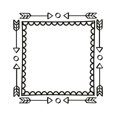 square hand draw arrows frame Ilustración de vector