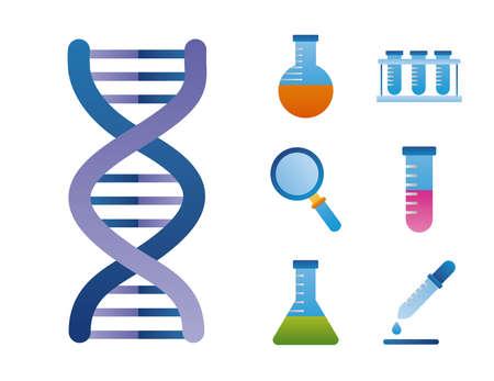 seven dna genetic set icons