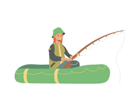 fisher in boat comic character