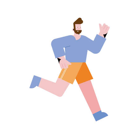 young bearded man running character