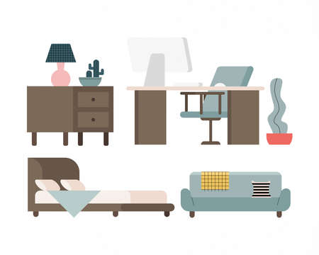 house and office furniture set icons