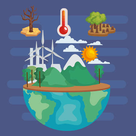 planet with issues environmental Vektorgrafik