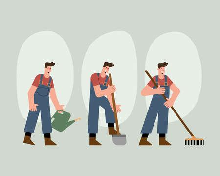 male gardeners characters practicing activities