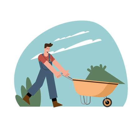 gardener with wheelbarrow gardening activity Vettoriali