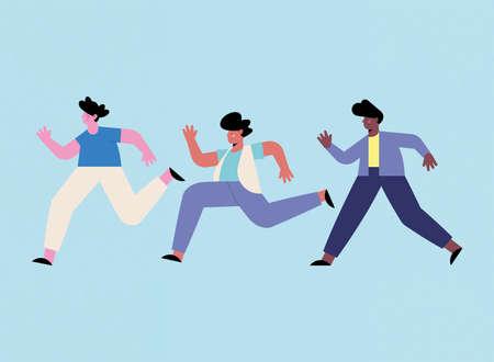 three diversity men running avatars characters