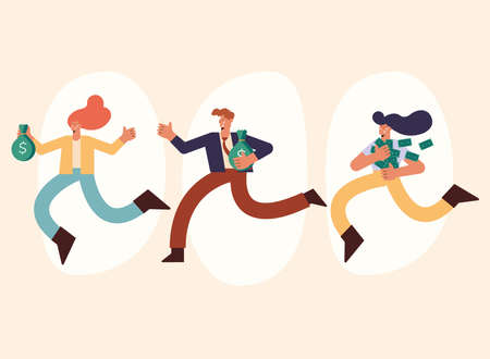 three rich persons running with money
