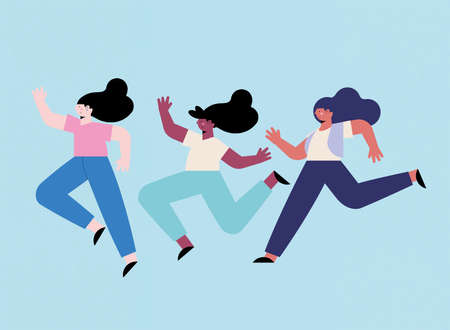 three diversity girls running avatars characters