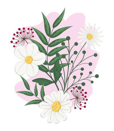 set of white flowers