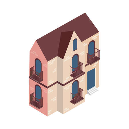 isometric mansion building construction icon Vettoriali