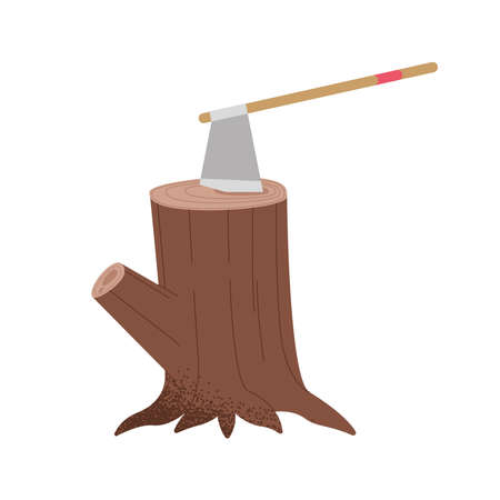 tree trunk with axe cutting icon