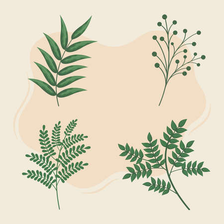 set of leaf icons with branches