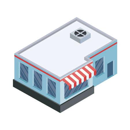 isometric supermarket building construction icon