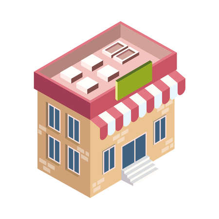 isometric store building construction icon