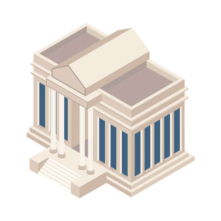 isometric library building construction icon