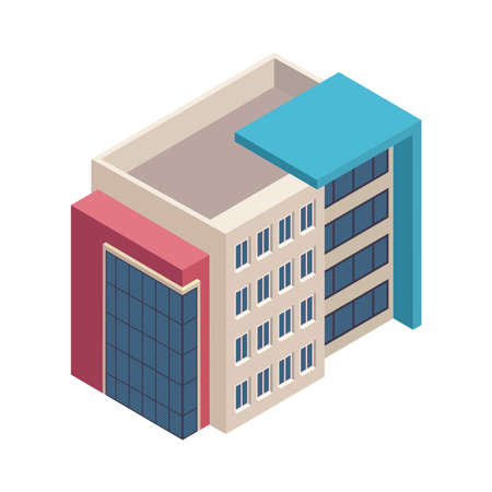 isometric building construction isolated icon