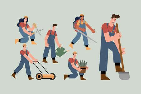 six gardeners characters practicing activities Vettoriali