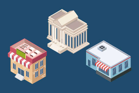 isometric three buildings set icons