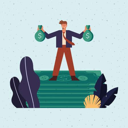 man standing in bills money character Vettoriali