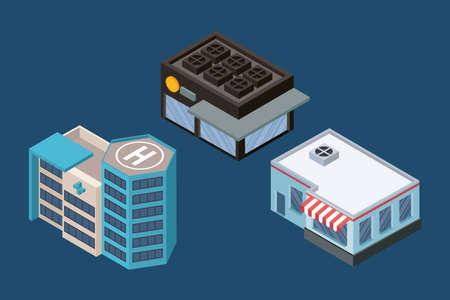three isometric buildings set icons