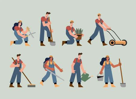 eight gardeners characters practicing activities