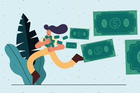 woman running with bills money character Vettoriali
