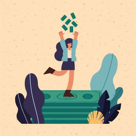 rich woman with dollars money scene Vettoriali