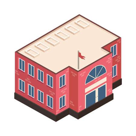 isometric school building construction icon Vettoriali