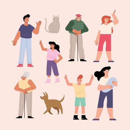 ten family members group characters