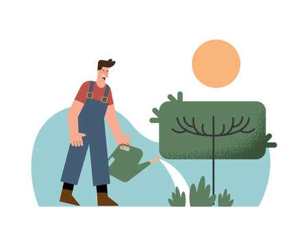 male gardener with gardening activity
