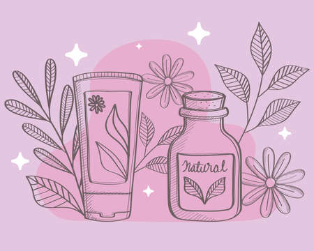 bottles of natural cosmetic