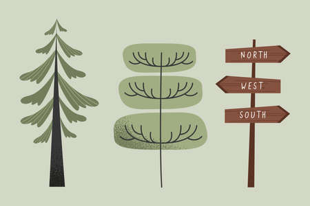 trees and wooden label icons