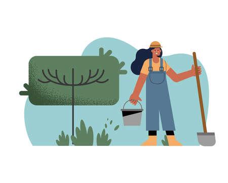 female gardener using shovel gardening activity
