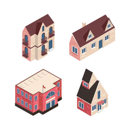 four isometric buildings set icons