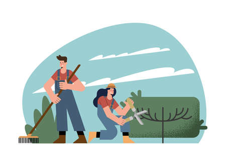 couple gardeners characters practicing activities