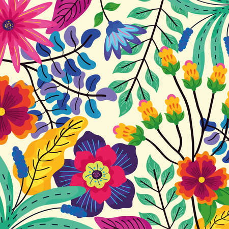 pattern of flowers and leaves