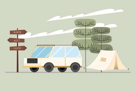 van and tent camping scene
