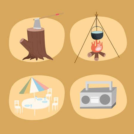 four camping adventure set icons Vettoriali