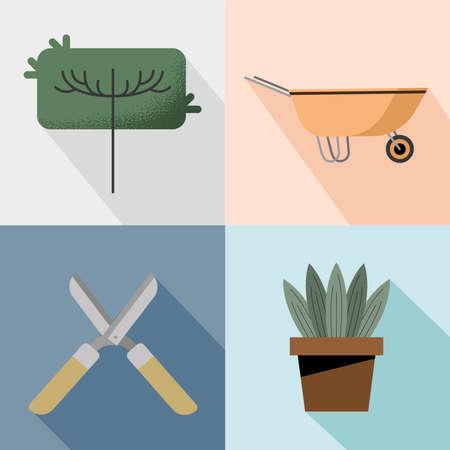 four gardening activities set icons