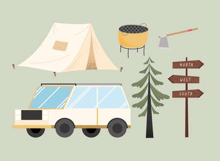 six camping adventure set icons
