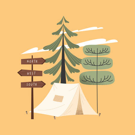 camping tent and trees forest scene Vettoriali