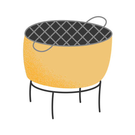 camping grill pot isolated icon