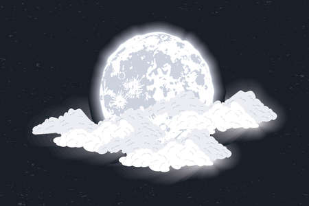 fullmoon phase lunar and clouds scene Vettoriali