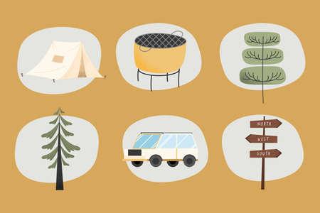 camping adventure set six icons