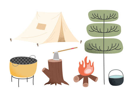 five camping adventure set icons
