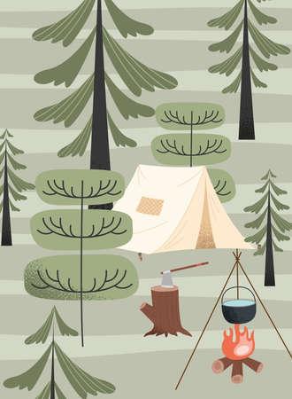 tent and campfire camping scene Vettoriali