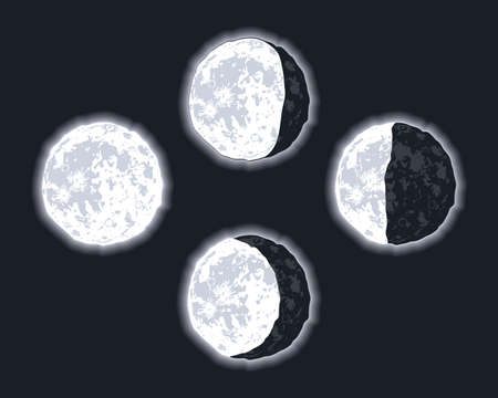 four moon phases set icons