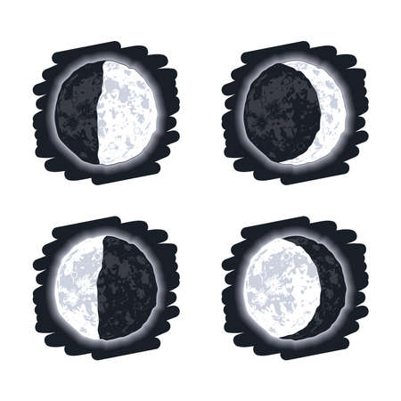 moon phases scene four icons Vettoriali