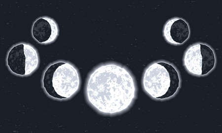 seven moon phases scene icons